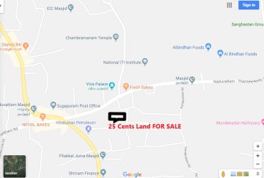 25 Cent Residential Land (Full / Plots ) FOR SALE at Edappal, Near VIVA Palace