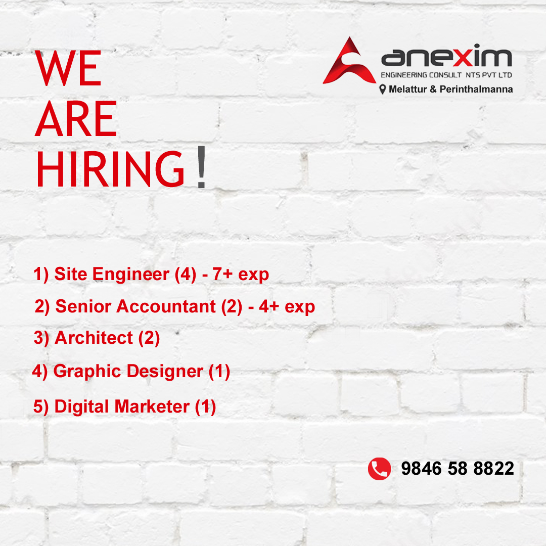Site Engineer, Accountant, Graphic Designer Job Vacancy in Perinthalmanna