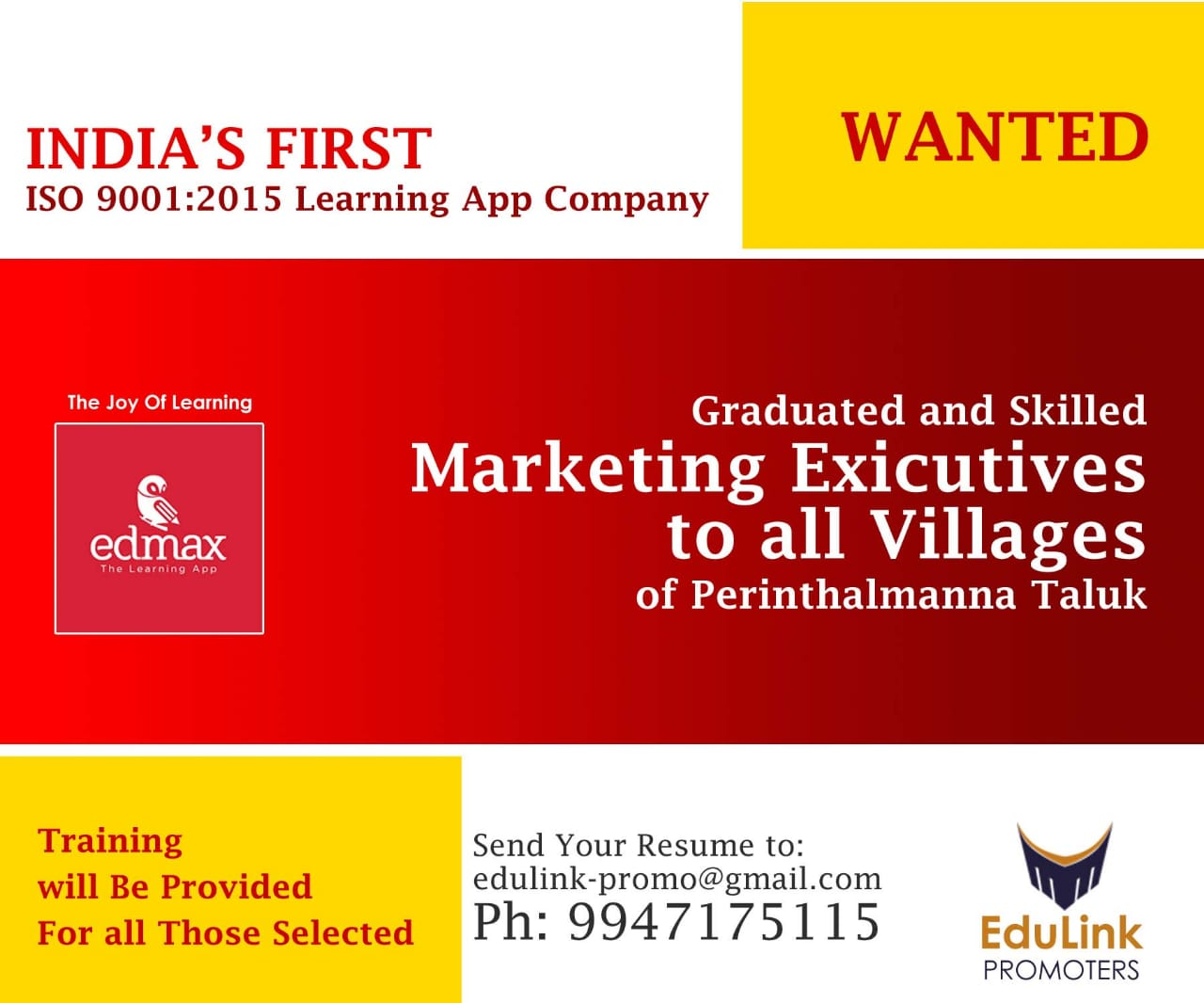 Wanted Sales Manager in Perinthalmanna